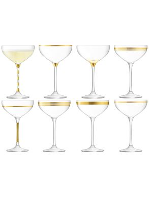 LSA Deco Champagne Saucers - Gold 235ml (Set of 8)