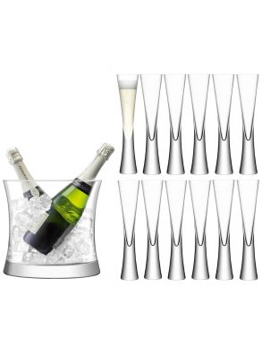 LSA Moya Champagne Grand Serving Set - Ice Bucket & Flutes (Set of 12)