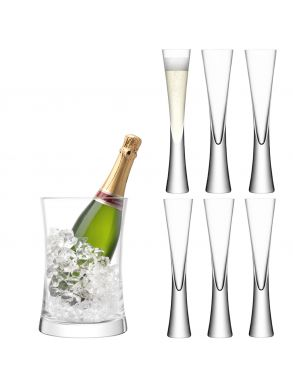 LSA Moya Champagne Serving Set - Ice Bucket & Flutes (Set of 6)