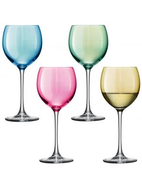 LSA Polka Wine Glasses - Pastel 400ml (Assorted Set of 4)