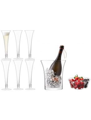 LSA Prosecco Grand Serving Set - Flutes Clear (Set of 6 & Bucket)