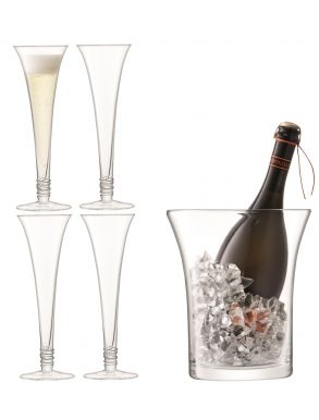 LSA Prosecco Serving Set - Flutes Clear (Set of 4 & Bucket)