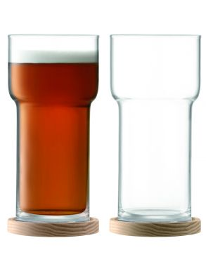 LSA Utility Beer Glass & Ash Coasters - Clear 550ml (Set of 2)