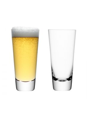 LSA Madrid Lager Glasses - Clear 600ml (Set of 2)