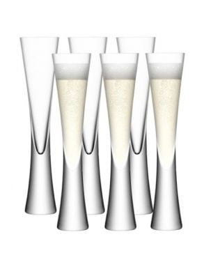 LSA Moya Champagne Flutes - Clear 170ml (Set of 6)