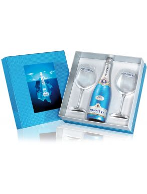 Pommery Royal Blue Sky Champagne Demi Sec 75cl 2 Flute Gift Set