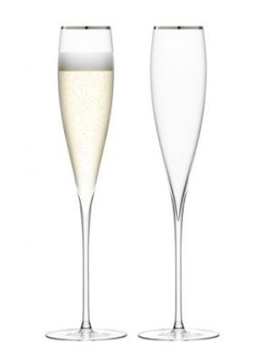 LSA Savoy Champagne Flutes - Platinum 200ml (Set of 2)