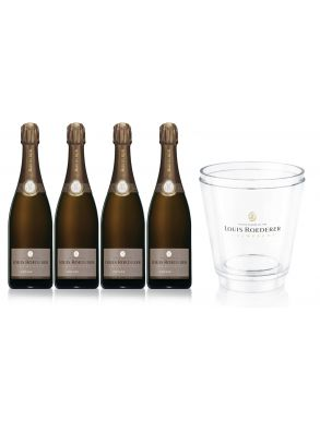 Louis Roederer Brut Vintage 2009 Champagne 4 x 75cl and Ice Bucket
