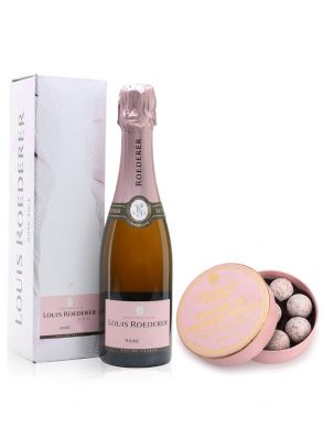 Louis Roederer Rosé Champagne 37.5cl & Pink Truffles 135g