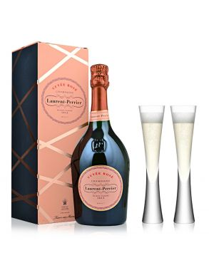 Laurent Perrier Rose Champagne NV 75cl & 2 LSA Moya Flutes