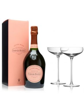 Laurent Perrier Brut Rose Champagne & 4 LSA Champagne Saucers