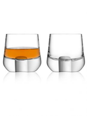 LSA Whisky Islay Shot Glasses & Walnut Coaster - Clear 80ml (Set of 2)