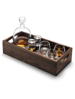 LSA Whisky Islay Connoisseur Set Clear & Walnut Tray - Clear 1L
