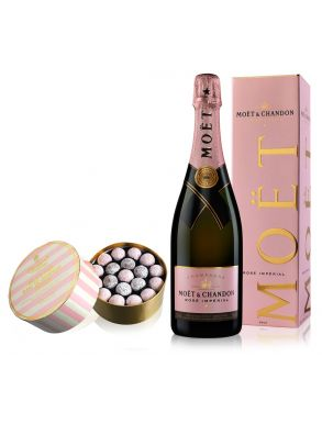 Moet & Chandon Rose Champagne NV 75cl & Pink Truffles 275g
