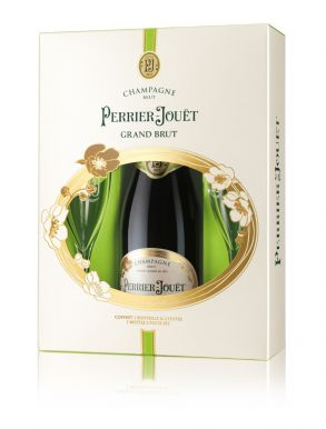 Perrier Jouet Grand Brut NV Champagne 75cl & Champagne Flute Gift Set