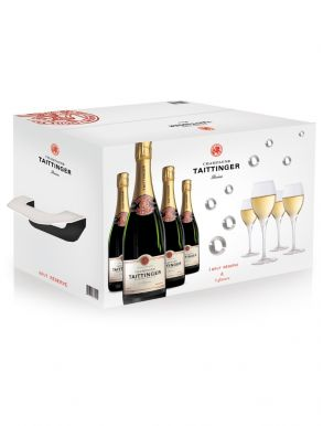 Taittinger Brut Reserve NV Champagne Case 4 x 75cl & 4 Glasses