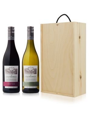 The Crossings Wine Gift - New Zealand 2 Bottles Wooden Gift Box