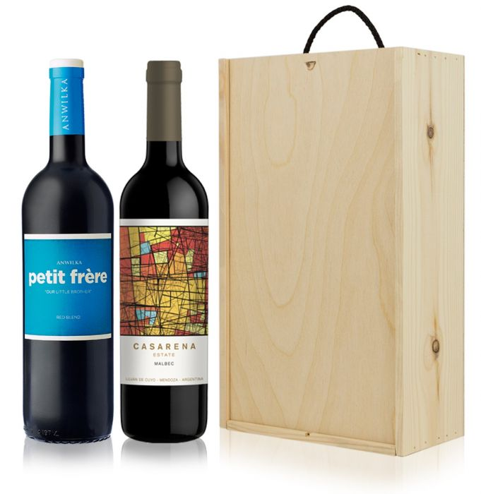Argentinian Sa Wine Gift 2 Bottles Wooden Gift Box