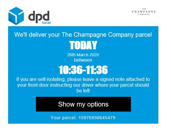 DPD Delivery Text Image Re. Self Isolating Customers